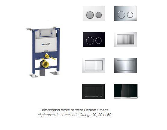 Bâti-support faible hauteur Geberit Omega  et plaques de commande Omega 20, 30 et 60