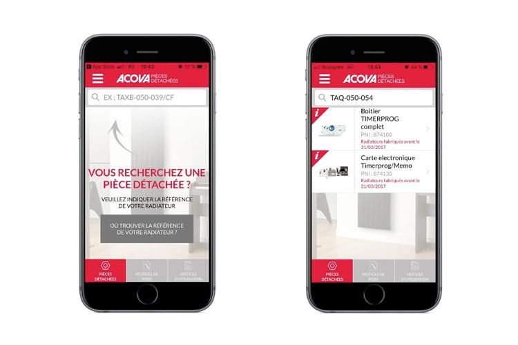 Acova Pièces Détachées, la nouvelle application mobile gratuite pour trouver et acheter rapidement les pièces détachées Acova