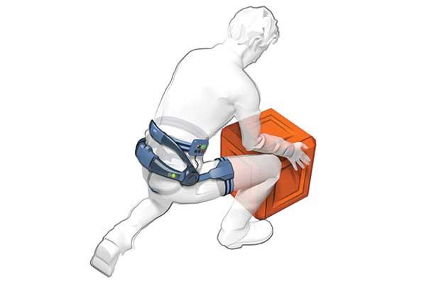 Illustration d'un exosquelette sur un homme en pleine manutention accroupi