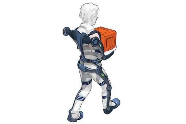 Exosquelette illustré porté par un homme debout portant un carton