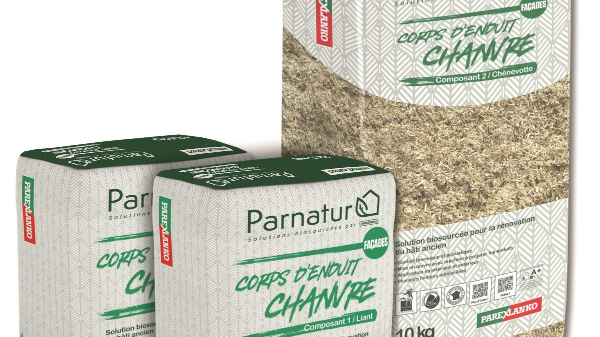 PARNATUR CORPS D'ENDUIT CHANVRE de Parexlanko, la 1ère solution biosourcée PROJETABLE la plus performante du marché