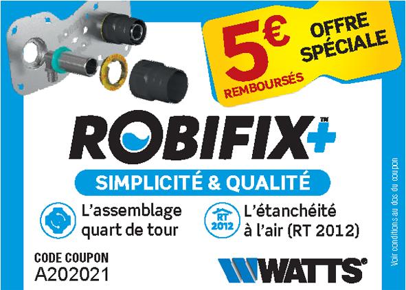 Opération promotionnelle ROBIFIX + : Watts invite les professionnels à tester la simplicité & la qualité de son kit de fixation de robinetterie mural